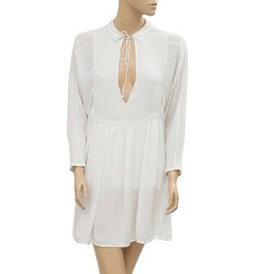 Free People Solid Front Tie Beach White Dress L